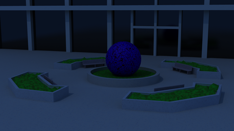 A night render, primarily using radiosity with a pale moon light for depth.