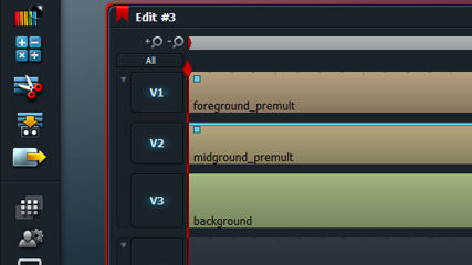 The video tracks in an edit window of Lightworks (click the image to see the full Lightworks workspace).