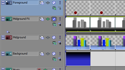 The video tracks from Sony Vegas (click the image to view the full interface).