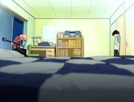 Screenshot from FLCL showing the bedroom of Naota, the protagonist.