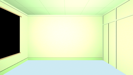 Raw LightWave render of the basic walls from Naota's room.  (Click for larger view).