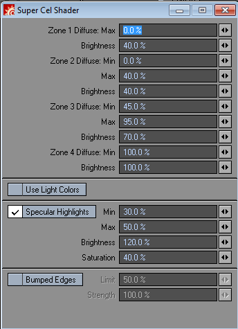Super Cel Shader is configured using a single dialogue box, where you set each brightness range and the corresponding output brightness for that range.
