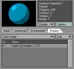 "Super Cel Shader is added through the ""Shaders"" section, which overrides the default shader values from the main tab."