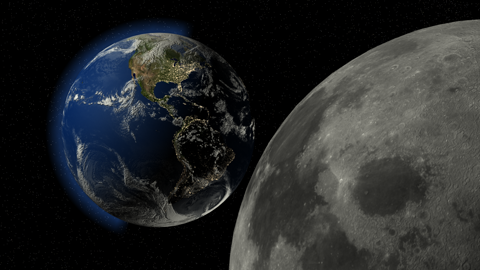 LightWave 3D render of the Earth and moon from space.