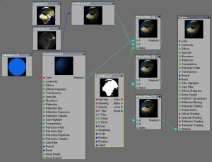Node network for the earth surface, including color, bump, and ocean shader. Click for full size image.
