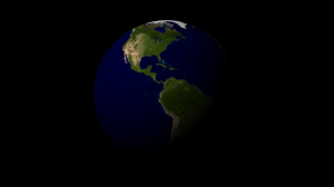 Render of the earth model after applying the initial color and bump maps (click for full size).
