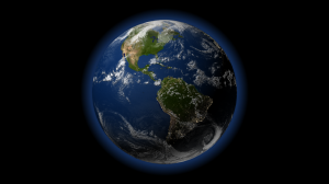 Render of the earth with the basic atmospheric glow. The glow is not complete yet, however, because it should not show up in the dark side of the earth. Click for full size image.