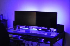 My new LED desk lights, set to blue. Click to view full size image.