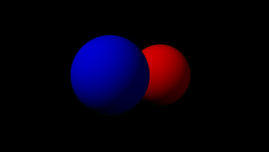 "The two spheres were rendered separately against a green background with ""Premultiply Alpha"" enabled. Notice the green halo around the spheres (click to view full image)."
