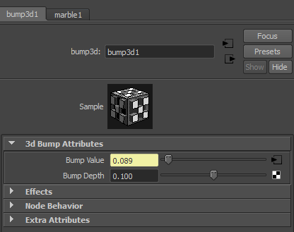 Setting the Bump Depth to 0.100 reduces the bumpiness to a more reasonable level.