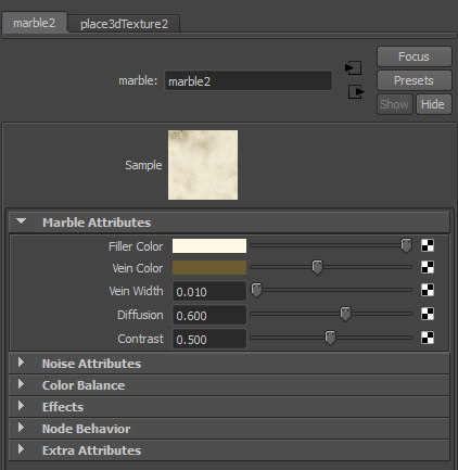 The settings in the Attribute Editor for the second marble texture.