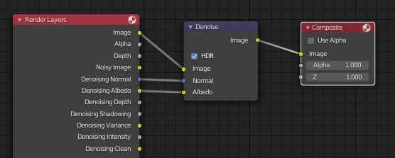 Denoise node in the compositor.