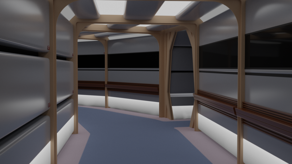 3D render of a corridor from Star Trek: The Next Generation