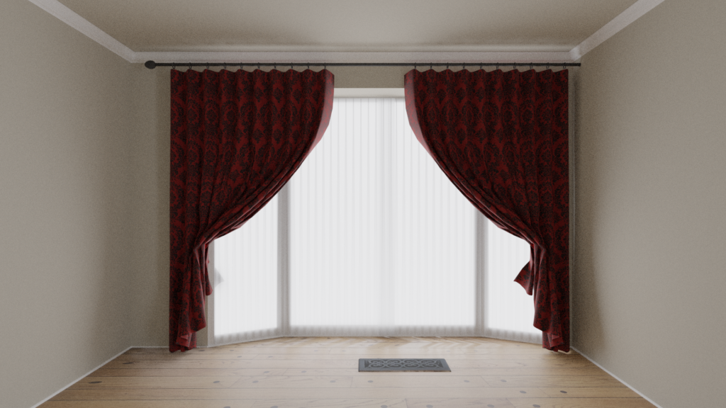 Render of office window with drapes