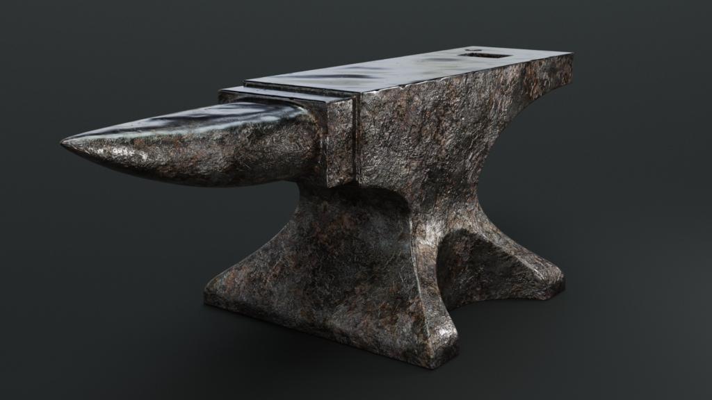 Final render from Blender of the anvil from Blender Guru's turorial